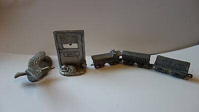 Lot Spoontiques Pewter Mailbox With Cat & Flying Bird Miniature Train (pewter ?)