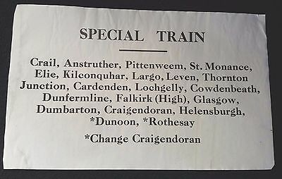 LNER? SPECIAL TRAIN Window/Carriage Label  - CRAIL - ROTHESAY