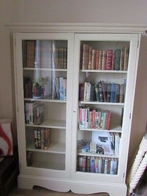 Handmade Painted Solid Wood Glass Fronted Double Door Large Bookcase