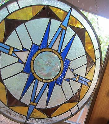 ROUND LEADED Stained Glass Window Panel Hanging Sun Catcher ART DECO ARTS CRAFT