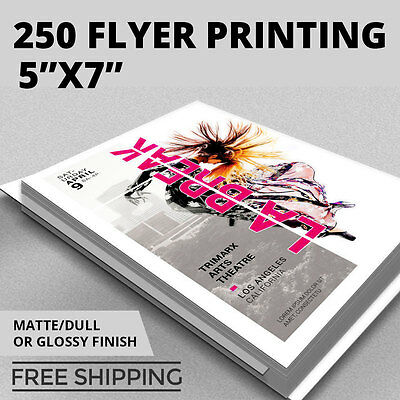 250 Flyer Printing - 5x7 Custom - Full Color - Thick Stock - Glossy or Matte