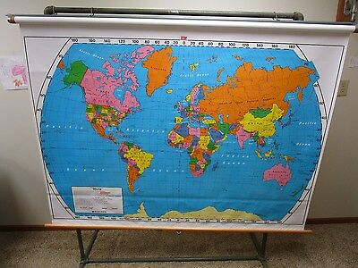 Vintage Nystrom Industrial School Pull Down World Map