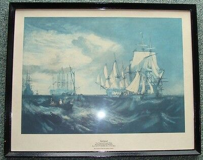 Framed & mounted Spithead print by J.M.W.TURNER. Two Captured Danish Ships .....