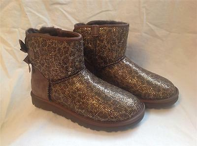 93f140b1189 UGG AUSTRALIA WOMENS Mini Bailey Bow Glitter Bronze Size 5 New In Box