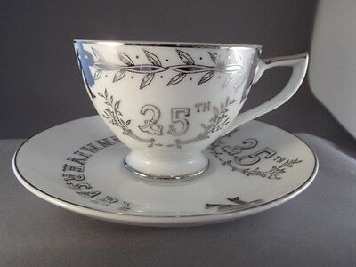 LEFTON #281 25th WEDDING ANNIVERSARY SILVER CUP AND SAUCER PORCELAIN  JAPAN MINT