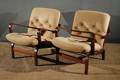 Scandinavian Bentwood Leather Armchairs Lounge Chairs x2 Vintage Retro