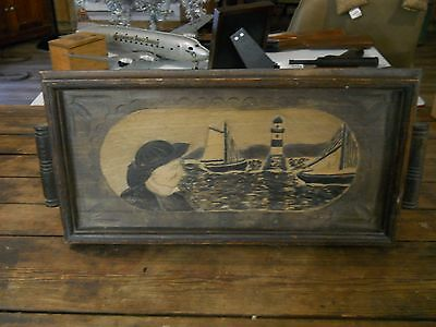 Primitive Nautical Hand Carved Serving Tray Art