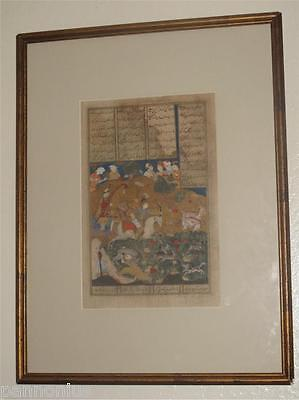 """15th century illustrated folio from the """"Shahnameh'/ Persian miniature painting"""