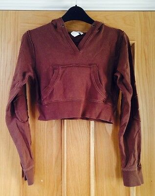 H&M Brown Long Sleeved Cropped Hoodie With Pocket 11-12 Years