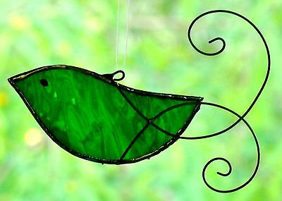 SNOW WHITE DOVE with HAND SCROLLED WIRE WINGS Stained Glass BIRD SUNCATCHER GIFT