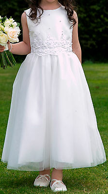 Girl's Ivory Flowergirl Wedding formal Party Communion dress 6 years