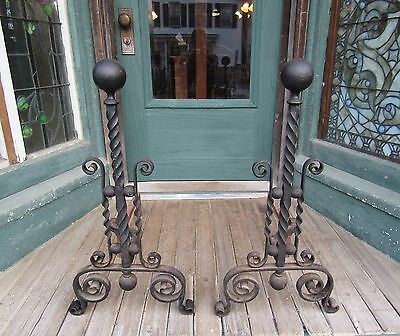 Large Antique Wrought Iron Andirons
