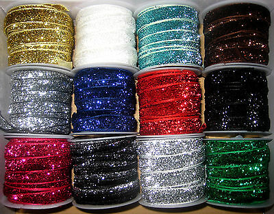 RUBAN VELOURS PAILLETE 2mx10mm POLYESTER 12 COULEURS