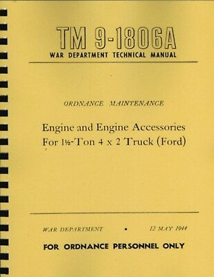TM9 1806A ~ WWII Ford Engine G8T 6 Cyl ~ Manual ~ Reprnt