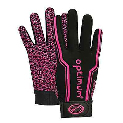 Optimum Boy's Velocity Thermal Rugby Gloves - Black/Pink Small - UK SELLER