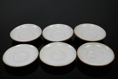 Lot Of 6 Old Chinese Small Yixing Zisha Plates With Mark On Bottom