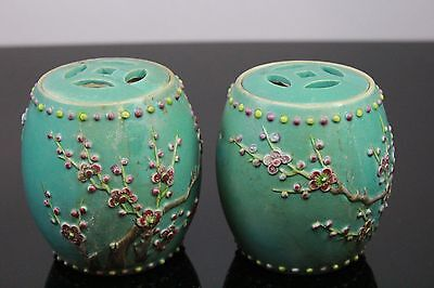 Pair Of Old Chinese Small Pottery Jars With Reticulated Covers