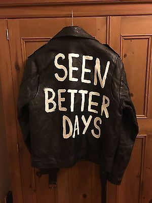 Vintage leather jacket Printed Back M/L
