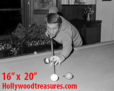 "Steve McQueen ~Shooting Pool~Playing Pool~Billiards~#2~16"" x 20""~Poster~ Photo"