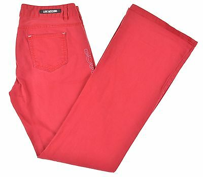 Love Moschino Red GO TO HELL Embroidered Cotton Stretch 5 Pocket Denim  Jeans 31 de76dc13168