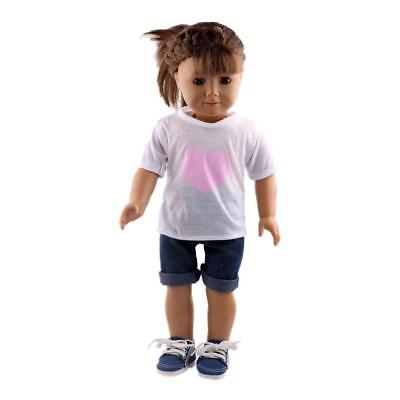 """Casual White T-shirt Jeans Clothing For 18"""" American Girl Gotz My Life Dolls"""
