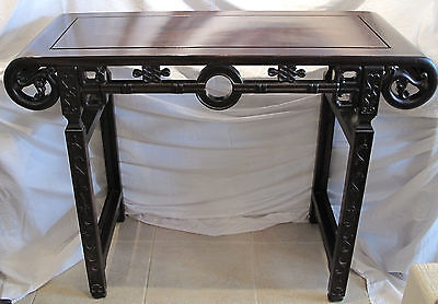 Antique 19th Century Chinese Export Hand Carved Rosewood Altar Table