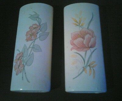 Pair wall pockets china/pottery/porceleain flower design