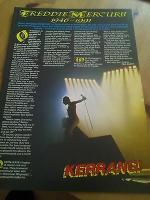 Freddie Mercury 1946-1991 Kerrang Tribute 8 Page Pullout Article Queen
