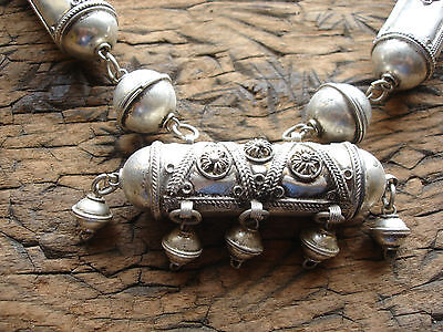 Very large Moroccan tarnished shiny  metal barrel ornate bead necklace