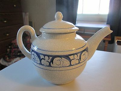 """Dedham Pottery Rabbit 7"""" Teapot from Potting Shed, Hand-painted"""