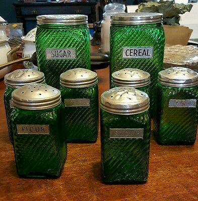 Vintage Owens Illinois Forest Green Depression Glass Containers 2 Lg & 6 Shakers