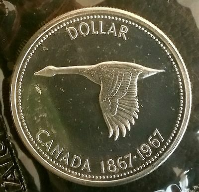 Gem Prooflike 1967 S$1 Canada Dollar in Mint Cello