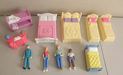 Fisher Price Sweet Streets Lot -- 6 Beds w/ Bunk + 4 Figures + Hotel Front Desk