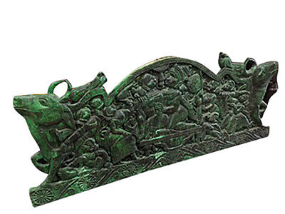 Antique Indian Headboard Hand Carved Vintage Green Wall Panel Decor Furniture