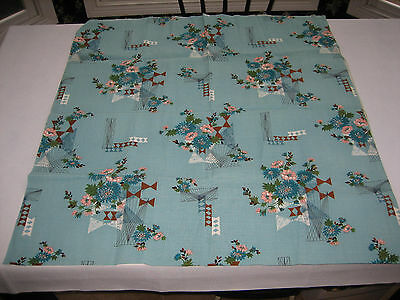"""NOS Fabric BTY - 1 Yard Turquoise Floral, Retro - Bark Cloth? - 35"""" wide"""