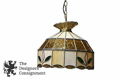 "Vintage Tiffany Style Leaded Slag Glass Swag Light Chandelier Floral 16"" Yellow"