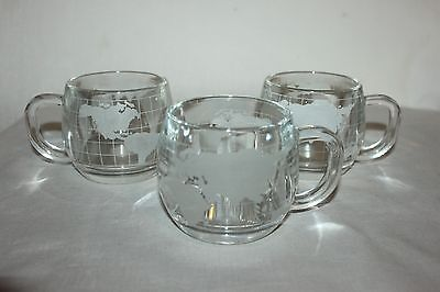 3 Vintage Nestle Frosted Glass World Globe Coffee Mugs/Cups