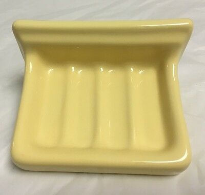 New Old Stock Porcelain 1950's Soap Dish Holder Wall Mount YELLOW
