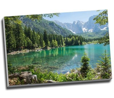 "Green Forest Lagoon Mountain Landscape Canvas Print Wall Art 30x20"" A1"