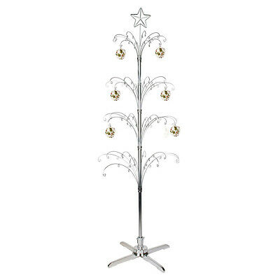 6ft 1.8m Artificial Christmas Tree Silver with Rotating Stand Xmas Decorations