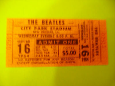 BEATLES concert TICKET  NEW ORLEANS sept 16 1964 limited edition reproduction