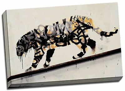 "Banksy Tiger Graffiti Canvas Art Print Large 20x30"" A1"