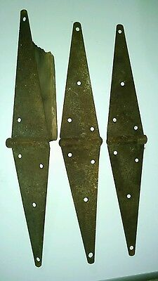 "3 Large Barn Door Metal Straps Hinges Hardware Parts Used Vintage 20""X3 1/2"""