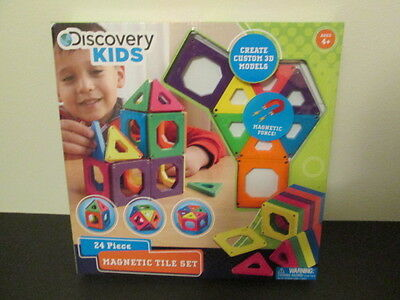 Discovery Kids 24 Piece Magnetic Tile Set Building Shapes Toy