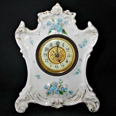 Victorian Porcelain Boudoir Bedroom Clock w/ British United Clock Co Works