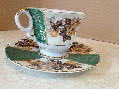 Castle Hand Painted Japan Tea Cup and Saucer Green Gold Flower Vintage
