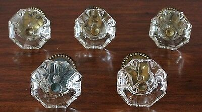Knobs Clear Glass - 5 - Over 100 Years Old - Extraordinary - Brass Fittings