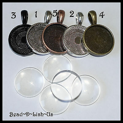 DIY PENDANT KIT 20mm Round Setting + Glass Cabochon findings  CHOOSE YOUR COLOUR
