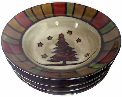 Set of 4 Soup Bowls Cuisinart Christmas Holiday Stoneware