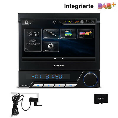 "XTRONS Eingebauter DAB+ 1 DIN Autoradio DVD GPS Navi 7"" Touchscreen USB 8GB Map"